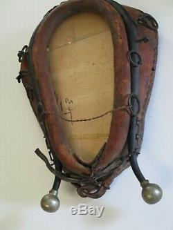 Antique Horse Tack Collar Mirror Leather Americana Sculpture Western Vintage