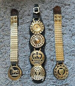 Antique Horse brasses on leather straps, vintage decor