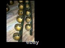 Antique Primitive Sleigh Bells on horse leather 84 strap 46 Steel BELLS