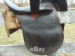 Antique Side Saddle Ladies Leather Vtg 1800's Horse Hair Good Tree Sidesaddle