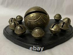 Antique Vintage Brass Sleigh Bells On Leather Heart Horse