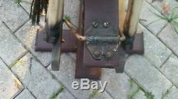 Antique Vintage Carved Rocking Horse Glider, Leather Saddle, Horse Hair Tail