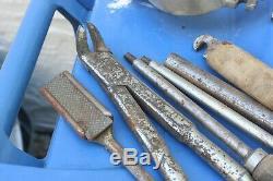 Antique Vintage Dental Kit Set Speculum Horse Mouth Gag Tool Set Steel Leather