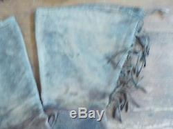 Antique Vintage Old West Leather Beaded Texas Horse Riding Gauntlets Gloves