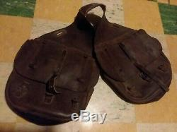 Antique Vintage WW1 Leather US Cavalry Military Saddle Bags