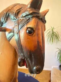 Antique / Vintage Wooden Rocking Horse, Leather Saddle, Real Horse hair tail