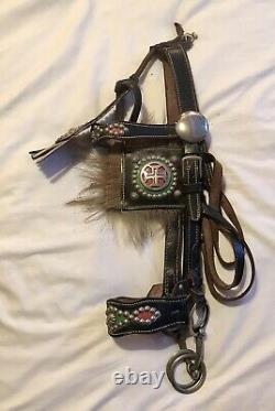 Antique Vintage Work Horse Headcollar Black Leather Stunning Full Size Halter