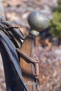 Antique Vtg Horse Collar Draft Harness Yoke Leather with Wooden Hames Brass Knobs