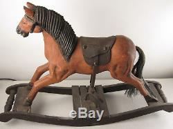 Antique Vtg rocking horse Carved Wood Leather Saddle Cast Iron stirrup Hair Tail