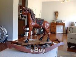 Antique Wood Carved Rocking Horse, Leather Saddle, Glass Eyes
