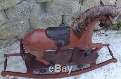 Antique rocking horse 1930s Vintage Wooden Leather Real Hair Brass Stirrups Toy