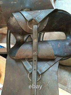 Antique vintage military officer leather horse saddle single stitch very nice