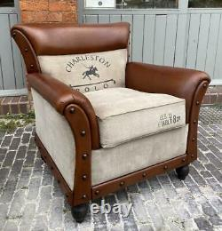 Armchair Brown Leather & Canvas Polo Horse Vintage Retro Club style