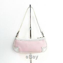 Auth BURBERRY Horse Logos Pouch Shoulder Bag Pink White Vintage From Japan