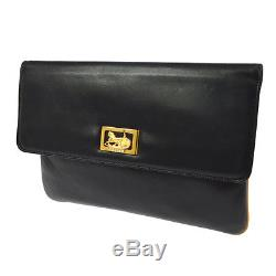 Auth CELINE Horse Carriage Clutch Hand Bag Black Leather Vintage Italy F02243