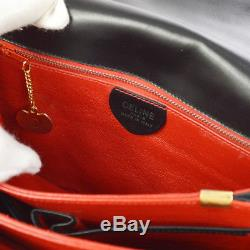 Auth CELINE Horse Carriage Cross Body Shoulder Bag Black Leather Vintage A39259