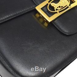 Auth CELINE Horse Carriage Cross Body Shoulder Bag Black Leather Vintage AK14372