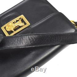Auth CELINE Horse Carriage Cross Body Shoulder Bag Black Leather Vintage BT12574