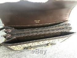 Auth CELINE Horse Carriage Cross Body Shoulder Bag Brown Leather Vintage