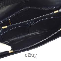 Auth CELINE Horse Carriage Cross Body Shoulder Bag Navy Leather Vintage A37361