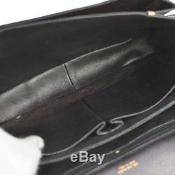 Auth CELINE Horse Carriage Shoulder Bag Black Crocodile Leather Vintage B29956