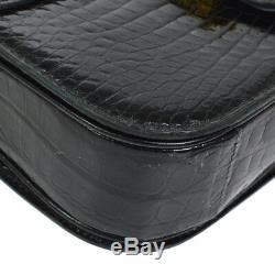 Auth CELINE Horse Carriage Shoulder Bag Black Crocodile Leather Vintage RK13830