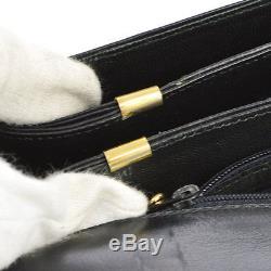 Auth CELINE Horse Carriage Shoulder Bag Black Gold Leather Vintage Italy S05505