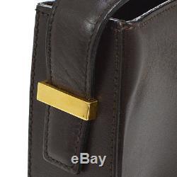 Auth CELINE Horse Carriage Shoulder Bag Dark Brown Leather Italy VTG AK14470