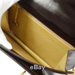 Auth CELINE Horse Carriage Shoulder Bag Dark Brown Leather Vintage Italy A40958