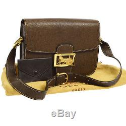 Auth CELINE Horse Carriage Shoulder Bag Dark Brown Leather Vintage Italy S05666