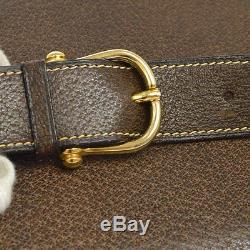Auth CELINE Horse Carriage Shoulder Bag Dark Brown Leather Vintage Italy S05666