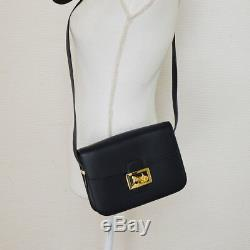 Auth CELINE Horse Carriage Shoulder Bag Navy Gold Leather Vintage Italy S08540