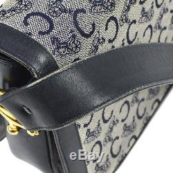 Auth CELINE Horse Carriage Shoulder Bag Navy Gray Canvas Leather Vintage 801872