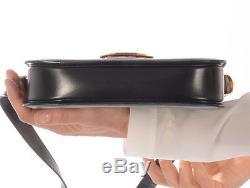 Auth CELINE Horse Carriage Shoulder Bag black Calf Leather Vintage