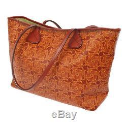 Auth CELINE Horse Carriage Shoulder Tote Bag Red PVC Leather Vintage BT15575h