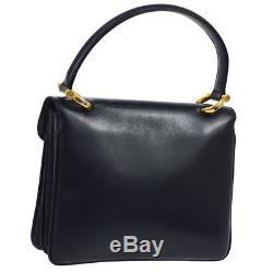 Auth CELINE Logos Horse Carriage Hand Bag Navy Leather Vintage Italy YG01853