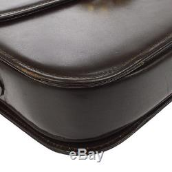 Auth CELINE Logos Horse Carriage Shoulder Bag Brown Leather Italy VTG B31033a