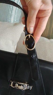 Auth CELINE Logos Horse Carriage Shoulder Bag Leather Vintage Italy