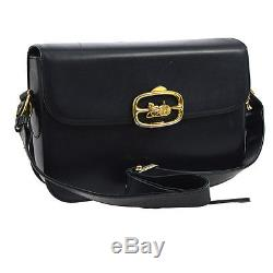 Auth CELINE Logos Horse Carriage Shoulder Bag Navy Leather Vintage Italy YG01116