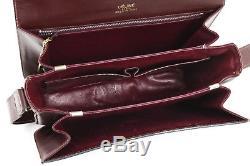 Auth CELINE Shoulder Bag Leather Horse Bordeaux Vintage #5578