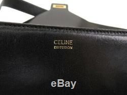 Auth Celine Vintage Black Leather Horse Carriage Shoulder Bag Ey888