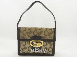 Auth Celine Vintage Brown Canvas Leather Horse Carriage Shoulder Bag Ey121