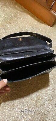 Auth Celine Vintage Horse Carriage Black Leather Shoulder Bag