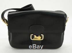Auth Celine Vintage Horse Carriage Black Leather Shoulder Bag Ey229