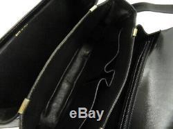 Auth Celine Vintage Horse Carriage Black Leather Shoulder Bag Ey320