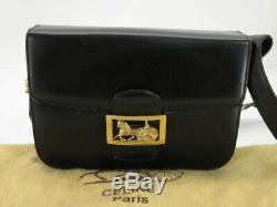 Auth Celine Vintage Horse Carriage Black Leather Shoulder Bag Ey815