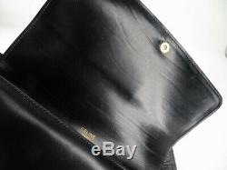 Auth Celine Vintage Horse Carriage Black Leather Shoulder Bag Ey821