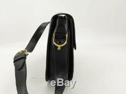 Auth Celine Vintage Horse Carriage Black Leather Shoulder Bag Ey934
