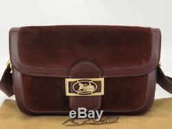 Auth Celine Vintage Horse Carriage Bordaux Suede Leather Shoulder Bag Ey891