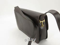 Auth Celine Vintage Horse Carriage Brown Leather Shoulder Bag Ey305